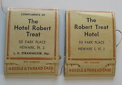 Two Vintage Needle & Thread cases from Hotel Robert Treat, Newark, NJ