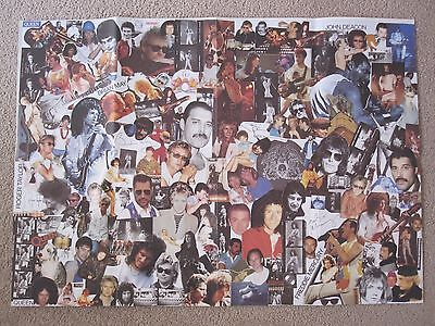 Queen  :  Official 1990 Fan Club Montage Fold-Out Poster - Freddie Mercury