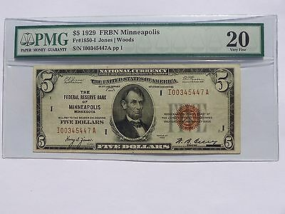 1929 $5 FRBN MINNEAPOLIS NATIONAL CURRENCY Fr#1850-I VF! VERY NICE! MUST SEE!