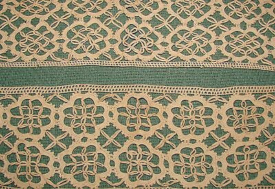 "Pair Needle Lace Trim Insertion Pieces - 4"" Wide - Ecru in Color"