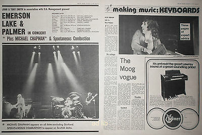 """EMERSON, LAKE & PALMER - IN CONCERT UK 16"""" x 12"""" AD + KEITH ARTICLE 1971"""
