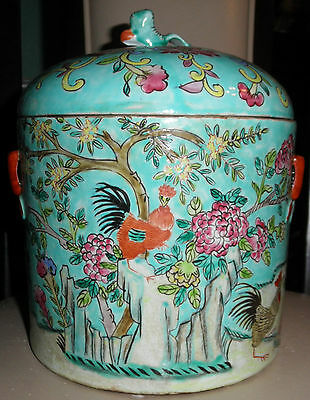 Chinese Straits Peranakan Nonya Ware Turquoise Roosters Chickens Kamcheng
