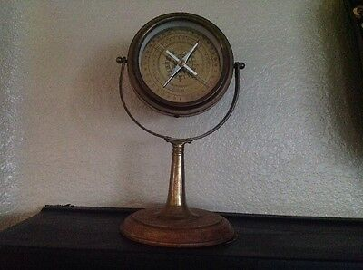 Vintage Compass On Stand Brass-Wood -Very Nice!!