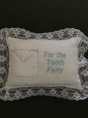 Brand New--Boys Tooth Fairy Pillow With Tooth Pocket, Blue Embroidered