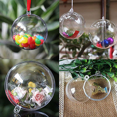 10pcs Clear Fillable Candy Box Christmas Bauble Xmas Tree Ball Ornament Decor JX