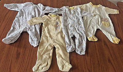 Lot Of 4 Cotton 0-3 Months Baby Sleepers Lightweight Pajamas Neutral Yellow