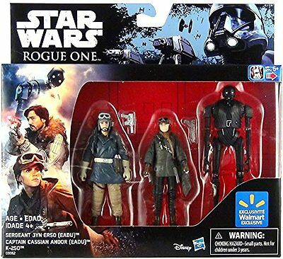 Star Wars Rogue One 3-Pack Jyn, Cassian & K-2So / Walmart Exclusive / 3,75""