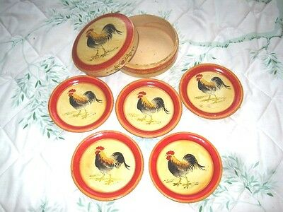 Vintage Tole Painted Red & Yellow French Country Rooster Paper Mache Coaster Set