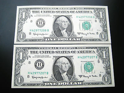 (2) $1 1963 ((St.louis Consecutive#)) Federal Reserve Note Unc Bu Note
