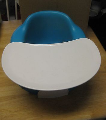 Bumbo Baby Infant Blue Seat With Restraint Belt Straps and Tray