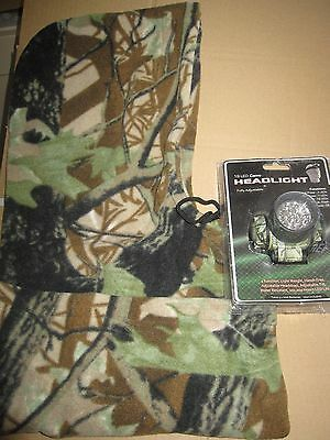 Ngt Carp Fishing Camo Head Light + Warm Fleece Camo Snood - Night Fishing