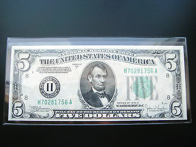 $5 1934 A St.louis  Federal Reserve Choice Unc  Note