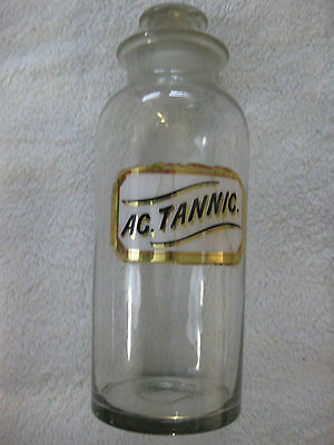 "Antique Pharmacy Apothecary Bottle Label under glass ""AC. Tannic."""