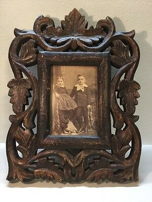 Antique 1 Piece Hand Carved Wooden Picture Frame With Photo