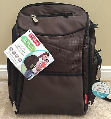 NEW! Fisher Price Fastfinder Unisex Brown Diaper Bag/Backpack w/ Organizer & Pad