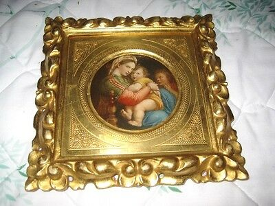 Antique Gold Gilt Carved Tole Wood Italian Florentine Madonna Raphael Picture