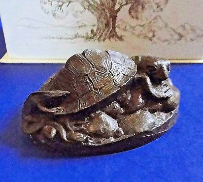 Vintage HEREDITIES Cold Cast Bronze TURTLE with LIZARD w Box by Jean Spouse