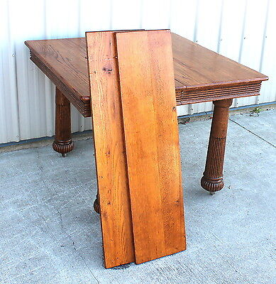 1900 1910 ANTIQUE OAK 5 LEG DINING ROOM TABLE W/ 2 11 INs. LEAFS