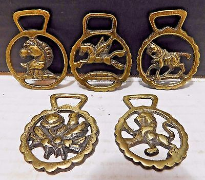 5 Vintage Harness Brasses Medallion PEGASUS, LION, POPPY FLOWER, 2 HORSES Small