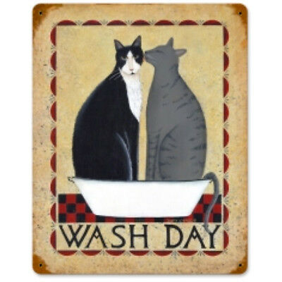 Wash Day Cats in a Tub Metal Sign Cute Vintage Bathroom Pet Decor 11.5 x 14.5