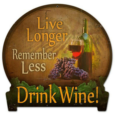 Drink Wine Metal Sign Live Longer Funny Quote Vintage Home Bar Decor 16 x 15