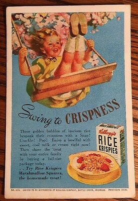 Vintage 1920's Kellogg's Rice Krispies Ad Girl Swing Cereal Blotter Card