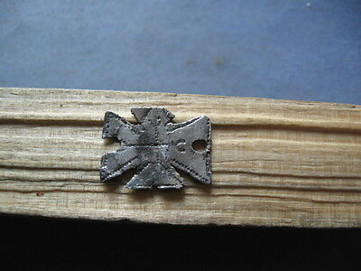 Ancient Celtic Silver Stylized Cross With Rune Symbols Amulet 400-200 Bc.