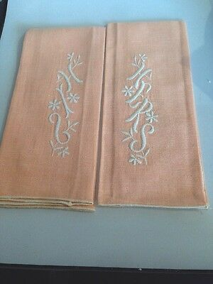 New Vintage Set Linen Tea Guest Hand Towel White Embroidered His Hers Peach
