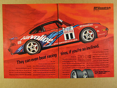 1996 andial Porsche 911 Turbo red race car photo BF Goodrich vintage print Ad