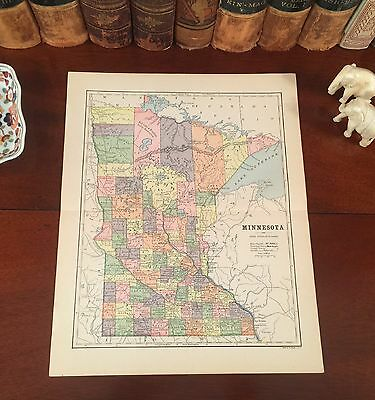 Fine Original 1882 Antique Map MINNESOTA Rochester Plymouth Duluth St Paul Eagan