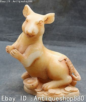 Rare Excellent Chinese Old Jade Yuanbao Zodiac Year Mouse Rat Mice Animal Statue