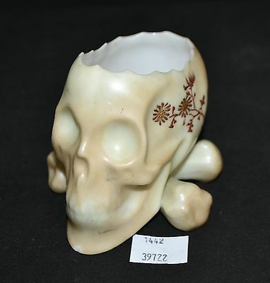 ThriftCHI ~ Asian Ceramic Skull Planter w Hand Painted Flowers