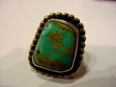 Native American Old Pawn Sterling Silver And  Turquoise Stone  Ring {Aa}