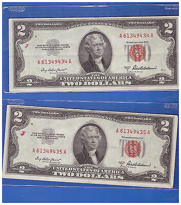 2 Consecutive  1953A  Two Dollar Bills Ded Seal  R489