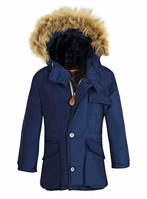 Boy's Winter Coats Dark Blue Insulated Jackets with Fleece Lined Hood