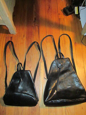 Lot of 2 BLACK LEATHER ZIPPER BACKPACKS 1 small, 1 large- Cuoieria Fiorentina