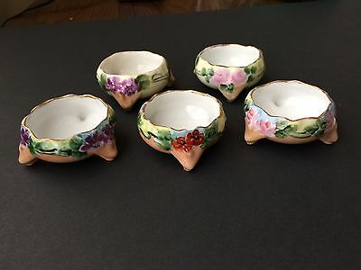 Antique Vienna Austria Porcelain Hand Painted Footed Salt Cellars set of 5