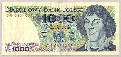 1982 Poland 1000 Zlotych Banknote Circulated