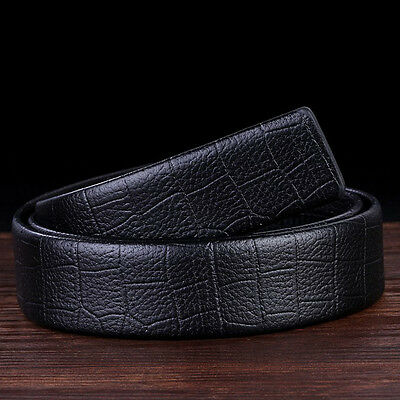 122cm Mens Leather Automatic Ribbon Waist Strap Belt Without Buckle Fatherday