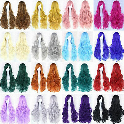 High Quality Full Wig Anime Long Curly Wavy Synthetic Hair for Party Cosplay Use