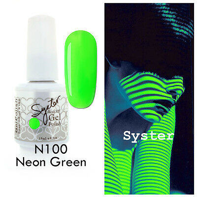 SYSTER 15ml Nail Art Soak Off Color UV Gel Polish UV Lamp N100 - Neon Green