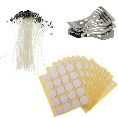 15cm Pre Waxed Candle Wicks w/Sustainers with Holder Stickers Candle Making