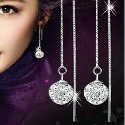 Silver Plated Long Crystal Drop Dangle Earrings Truly Stunning Ladies Gift