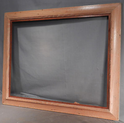 Vintage Modern Art Abstract Painting Picture Frame Wormy Chestnut Teak 18x23
