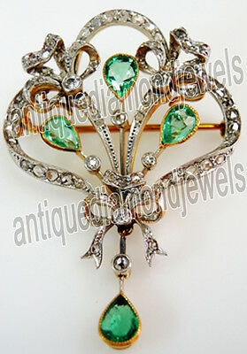 3.29ct ROSE CUT DIAMOND EMERALD .925 STERLING SILVER ANNIVERSARY BROOCH PIN