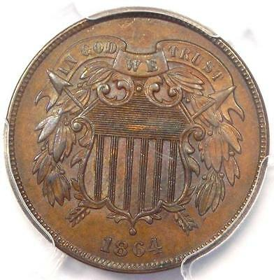 1864 Two Cent Piece 2C - PCGS Uncirculated Detail (MS UNC) - Rare Certified Coin