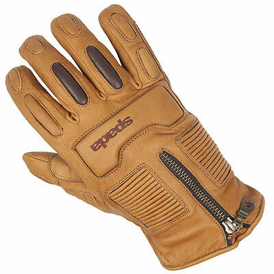 Spada Rigger Sand Motorcycle Motorbike Waterproof Leather Gloves | All Sizes