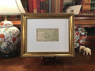 Framed Original 1887 Antique Map INDIAN TERRITORY Oklahoma Tulsa Seminole OK