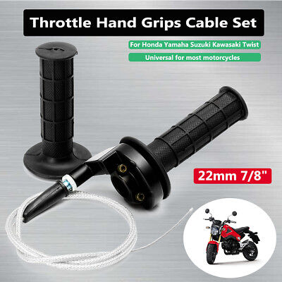 Universal 7/8'' 22mm Motorcycle Handlebar Hand Grip Throttle Twist Tube & Cable