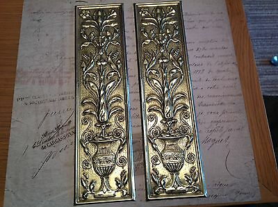 Reclaimed Solid Brass Door Finger Plates Antique finish Large Rectangle 4 Pairs#